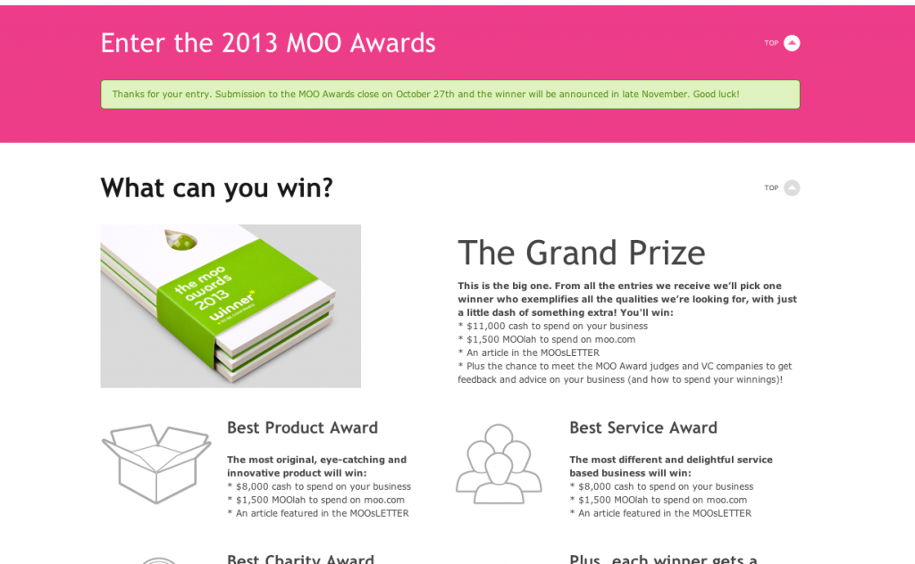 2013 moo awards submission confirmation